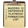 Here is the complete Madden 12 defensive formation list for each team's defensive playbook.  A few books that standout are the Jets, Steelers, and 46 playbooks. Note: use the search...